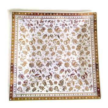 Mid Century Modern Georges Briard Large Square Tray 22 KT Gold Persian Garden 15 Inch