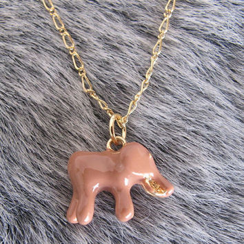 Cute  LittInle Indian Elephant Necklace / Brown Elephant