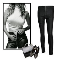 Autumn Pants PU Leather Plus Size High Rise Leggings [11597532559]