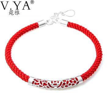 Red Rope Chain 100% Real 925 Sterling Silver Bracelet for Women Jewerly High Quality S925 Solid Silver Bracelets CB54