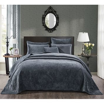 Tache Navy Blue Velvety Dreams Luxury Velveteen Plush Waves Quilted Bedspread (JHW-852BL)