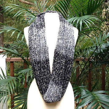Black Gold Metallic Crochet Infinity Scarf, soft black ombre crochet neck warmer scarf, crochet infinity scarf
