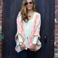 Weekend Expedition Ivory & Coral Dolman Sleeve Cardigan