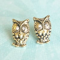 vintage inspired owl earrings