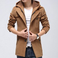 Mens Coat with Removable Hood