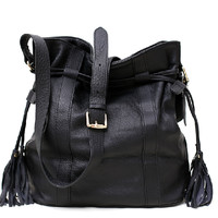 Lulu--leather drawstring bag--Casual bucket Bag