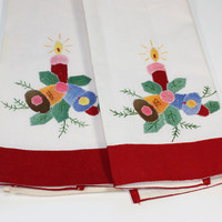 Set of 2 Embroidered Applique Towels Christmas Bells Candle Vintage