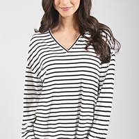 piko: ultimate everyday long sleeve v-neck top - white/black stripe