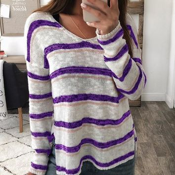 New Purple-White Striped Print Double Slit Oversize Long Sleeve V-neck Casual Slouchy Pullover Sweater