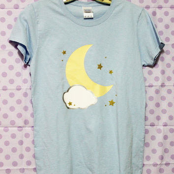 Kawaii Glitter Cloudy Moon and Stars Silver Lining Unisex T-Shirt - Hand Made to Order Pastel Goth