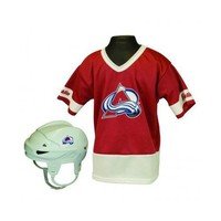 Colorado Avalanche Hockey Helmet and Jersey Top Set