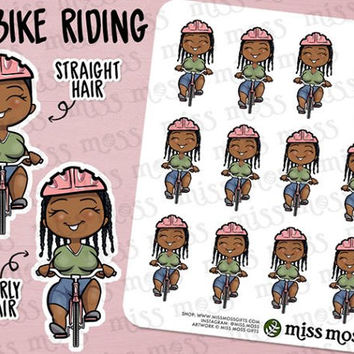 Brown Skin Bike Riding Exercise Planner Stickers, African American Black - Erin Condren, Happy Planner, Kikki K, Filofax, Decorative