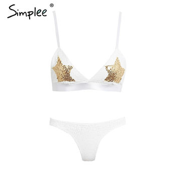 Simplee White sequins gold star bra bralette Women sexy backless intimates bra & brief sets Elegant unpadded summer lingerie