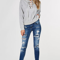 Let's Chill Lace Up Pullover