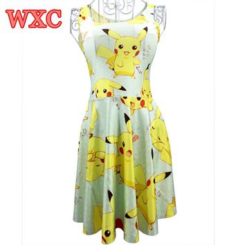 A Line Dress Pikachu Girls Sweet Kawaii Dresses Anime Yellow Cartoon Casaul Summer Skater Dress Cute WXC