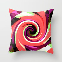 Painted Wind Whirl Throw Pillow by kasseggs