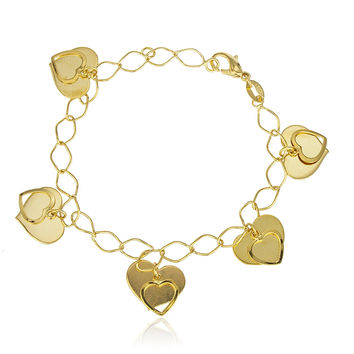Gold Overlay Dangling Heart Charms 8Inch Link Bracelet
