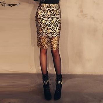 *online exclusive* gold lace pencil midi skirt