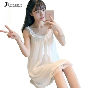 JRMISSLI Nightgowns White princess Sleepshirts Lace Sleepwear Nightgown Home Indoor Dress Sexy ladies pyjamas