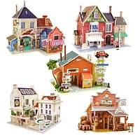 Wooden Toys Jigsaw 3D Puzzle House Building Wooden Toys For Children Chalets Wood Toy Puzzles Montessori Kids Toys brinquedos
