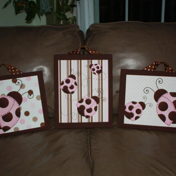 Set of 3 Pink Brown Mod Ladybug Girls Stretched Canvases Kids Bedroom Baby Nursery CANVAS Bedroom Wall Art 3CS022