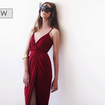 Wrap maxi Bordeaux gown, Wine red tulip maxi gown
