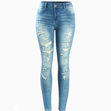 Mid High Waist Stretch Vintage Wash Ripped Skinny Jeans