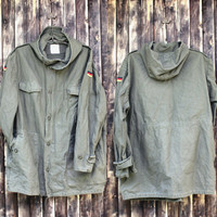 Vintage man's German army anorak field jacket military coat olive green canvas jacket military  jacket camo army jacket Halloween costume