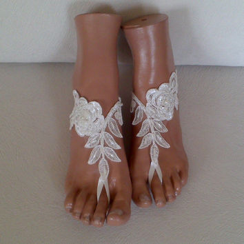 6bc5247b65b2 Free rush ship ivory beaded Beach bridal shoe wedding accessory barefoot  sandals shoes