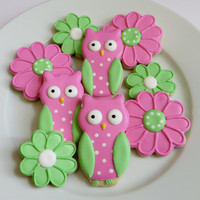Owl and flower cookie favors decorated in pink and green, 1 dozen