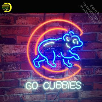 Go Cubbi Neon Sign neon bulb Sign Bear Real Glass Tube neon lights Recreation Iconic Sign store Display personalized 19x15