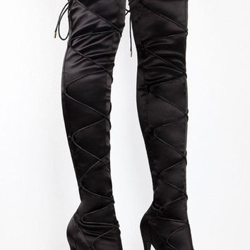 Laura Black Lace Up Cinch Thigh High Open Toe High Heel Boots