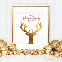 Christmas Family Last Name, est. date, Personalized Faux Gold Rudolph, Printable wall art decor, Unique Gift (Custom digital download - JPG)