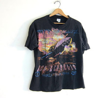 vintage 1990s 1995 Led Zeppelin and Robert Plant World Tour tshirt / DISTRESSED and washed out / faded black cotton
