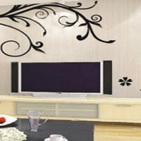 Home removable recycling wall sticker decals black flowers and vines perfect decoration for living room