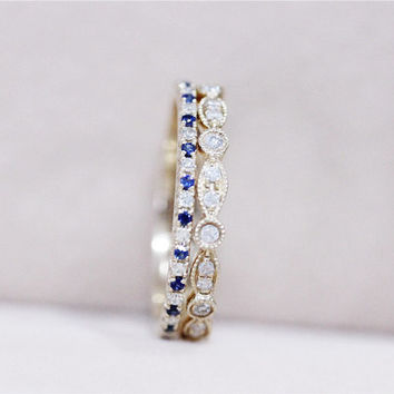 Art Dect VS Blue Sapphire Ring Pave 14K Yellow Gold Blue Sapphire Band Diamond Engagement Ring Wedding Band Set - 3 Rings Set