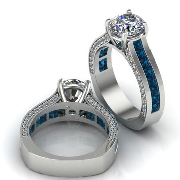 Incredible Sapphire and White Moissanite Engagement Ring 10 k