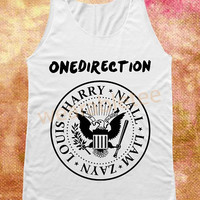 1D One Direction Tank Top Ramones Shirts White TShirts Vest Women Tank Top Women Shirts Women Top Tunic Women Sleeveless Singlet Rock Shirts