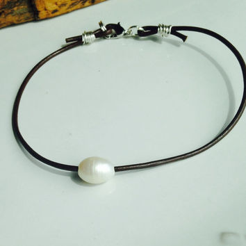 Freshwater Pearl Anklet, Large Hole Pearl, Dark Brown Leather Cord, Silver Plated Wire, Silver Plated Clasp, Etsy, Etsy Jewelry