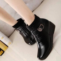 New vintage women boots women leather winter boots warm plush autumn boots winter wedge shoes woman ankle boots size 36-40