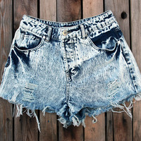 High Waisted Acid Washed Denim Distressed, Shredded, Cutoff Jean Shorts - FREE SHIPPING in the USA
