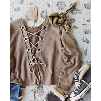 Bailey Tie Back Sweatshirt in Brown