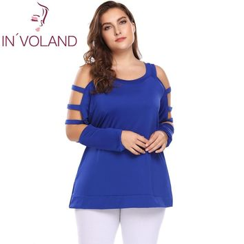 IN'VOLAND Plus Size Women T-Shirt Tops XL-5XL Cut Out Long Sleeve Cold Shoulder O Neck Solid Loose Pullover Tees Tshirt Big Size