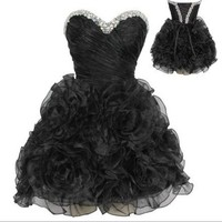 Beaded Organza Mini Prom Dress Formal Gown-Black