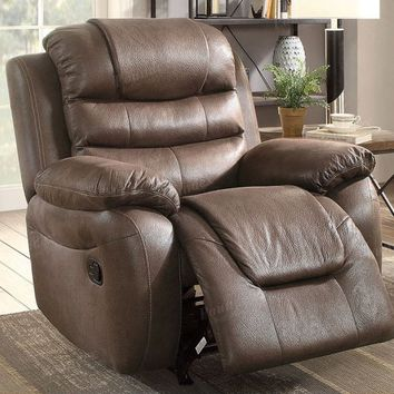 Poundex F6758 Collette dark coffee breathable leatherette standard motion reclining recliner chair with overstuffed arms
