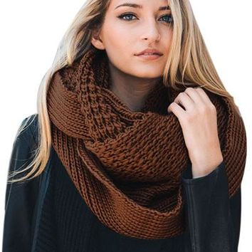 Chicloth Brown Cable Knit Chunky Scarf