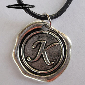 Antique Silver Wax Seal Initial Necklace on Black Leather Cord - 18-19 Inch Length