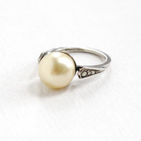 Vintage Art Deco Sterling Silver Simulated Pearl & Marcasite Ring - 1920s 1930s Raised Cream Stone Jewelry