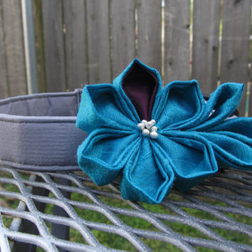 Dog Collar and Flower - READY TO SHIP Blue and Purple Kanzashi Flower on Grey Dog Collar - Yelow Wedding Collar, Grey wedding dog collar