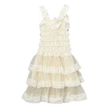 Ivory Satin & Chiffon Flower Girl Tiered Dress